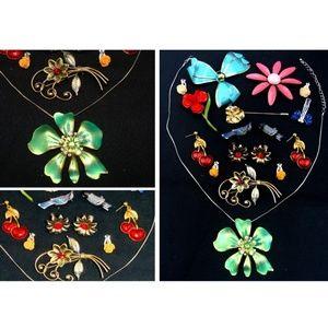 Vintage flower jewelry lot floral necklace brooch